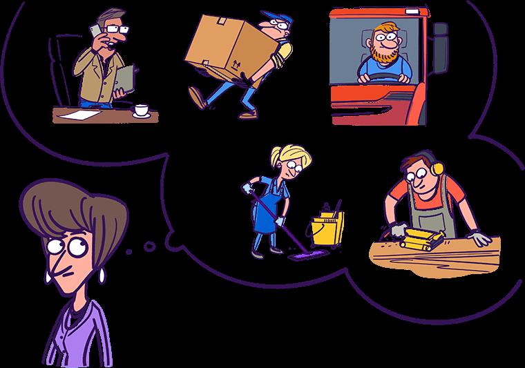 Ilustratīvs attēls: Andra krustmāte Beāte un blakus viņai domu burbulis, kurā iekšā dažādu profesiju pārstāvji - grāmatvedis, krāvējs, šoferis, apkopēja, galdnieks.